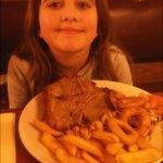 her T-bone steak