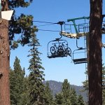 Mountain bikes headed up pthe lift for their appointment