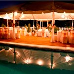 The large pool deck can be ideal for a wedding reception