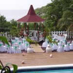 The pool area with gazebo set up for a wedding