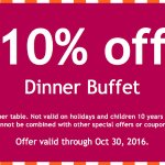 Special Discount for Dinner Buffet!