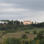Villa Lecchi, seen from the road as you approach from below.
