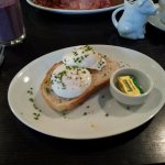 2 x poached eggs on 1 slice of bloomer toast at Moments Cafe Leeds