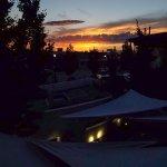 Sunset from the second floor overlooking the outdoor restaurant
