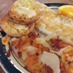 egg white omelette and potatoes