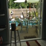 This is a view of the pool area from the Blue Bungalow