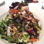 Grilled Chicken Salad - mixed greens, jicama, corn, honey lime vinaigrette & peanut sauce