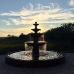 Their beautiful fountain at sunset