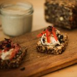 Hapī sprouted buckwheat paleobread toasted with vegan cheese (gluten free, dairy free)