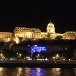 Lanchid 19 Hotel in blue lighted design at night below Buda Castle! Lovely location!