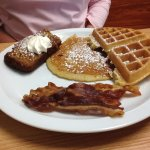 Sampler Plate...pumpkin french toast, waffle, pancake, crisp bacon