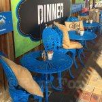 Colorful outdoor seating.