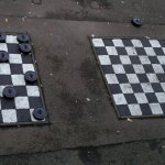 Play draughts with the smell of urine all around
