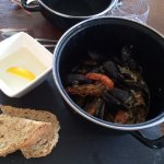 Prawns & Mussels in white wine shallot sauce and dry bread