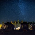 Milky Way above the campground (sleeps 4 cabin pictured)