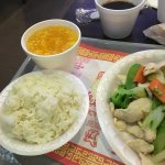 Steamed chicken and veggies w no mushrooms and steamed dumplings (pork)