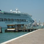 cruise ship oceana,passing waterbus stop,on st elena,venice italy