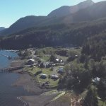 Drone shot looking out the inlet