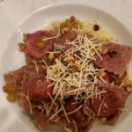 Roasted beet ravioli, butter sauce with walnuts, golden raisins and Parm. Pink pillows of perfec