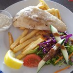 Grilled fish, salad and really good chips