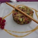 Salade de boulgour,  wok de poulet aux légumes, clafoutis aux figues !