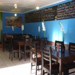 Simple, quiet interior, chalk board menus and very good food and coffee