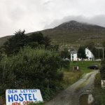 The driveway leading to the hostel, with Ben Lettery Mountain in the background.