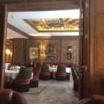 Lovely Art Deco glass ceiling looking from lounge/library area. The food was excellent.