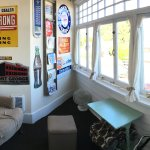 The Sunflare room has a wonderful little enclosed porch for viewing the river and reading