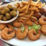 shrimp, okra, fries