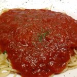Huge plate of spaghetti with marniara sauce