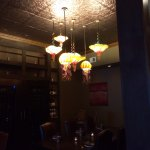 cool light fixtures. Sorry the rest of the photo is dark.