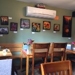 Local art work adorns the walls and is for sale