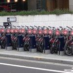 Bikes stacked up at Holborn Circus at rush hour