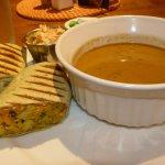 Aloo wrap and plantain soup