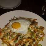 Duck confit waffles pizza and kimchu fries