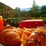 The buffet breakfast of the hotel (with Monte Baldo in the background)
