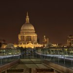 Night View of St Pauls over Millennium Bridge