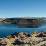 Vista de la laguna Umayo desde la parte superior de Sillustani