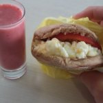Best breakfast sandwich ever! Egg Whites! Shots of Banana Berry smoothies. Great!