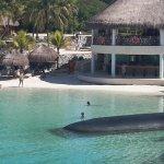 Beach and beach bar taken from beach buffet restaurant