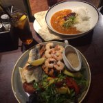 Seafood mixed grill and chicken tikka curry