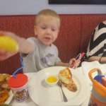 He is so excited. Grabbed my lemon for his lobster. He also ate some veggies