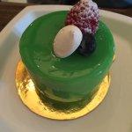 Pistachio (green), raspberry and chocolate banana.