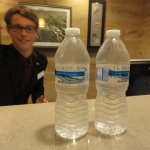 Complimentary water at check in