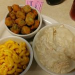Chicken and Dumplings mac and cheese fried okra