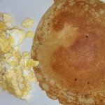Angelos Homestyle Restaurant - Scrambled eggs and pancakes.