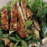 Grilled chicken and kale salad, after I removed the slab of bacon