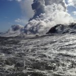 A view from the boat, approaching the lava