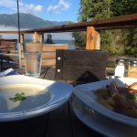 We stopped by for a quick meal and had amazing seafood chowder and really good poutine. The loca
